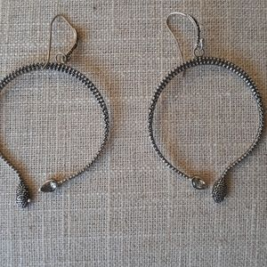 Sterling Silver and Green Topaz Snake Hoops